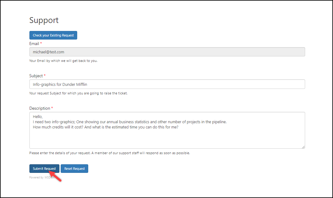 WSDesk Help Desk for Filling Service Orders | Customer Submitting a Request