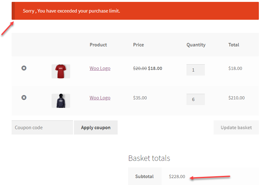Warning Message on exceeding the Product minimum amount || Create a Wholesale store