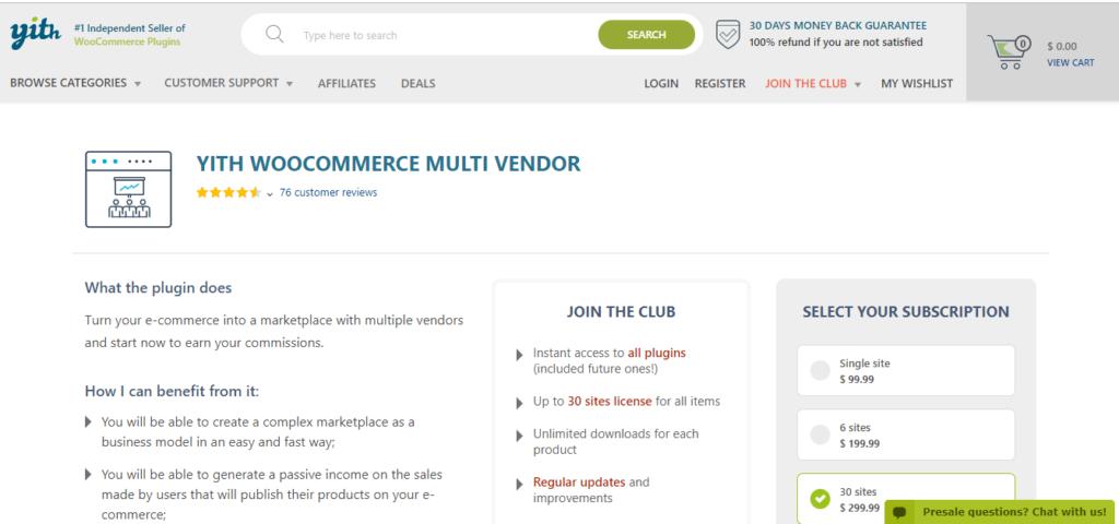 YITH Multi vendor plugin    Multi-vendor marketplace plugin