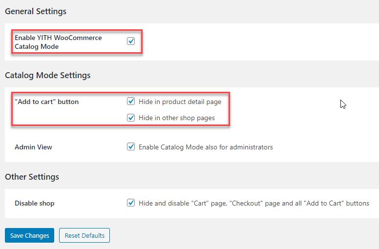 Comparing WooCommerce Catalog Mode Plugin | YITH WooCommerce Catalog Mode UI