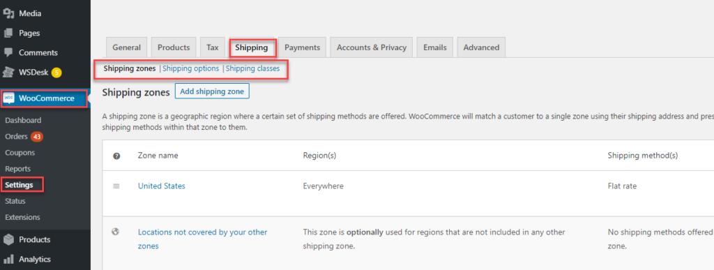WooCommerceshiping_settings