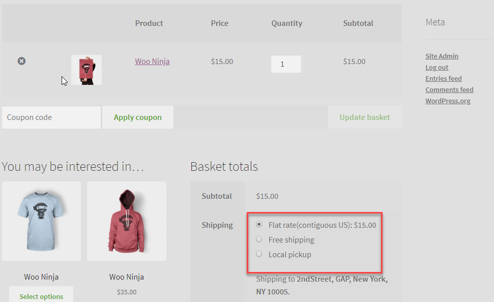 all Shipping options in cart