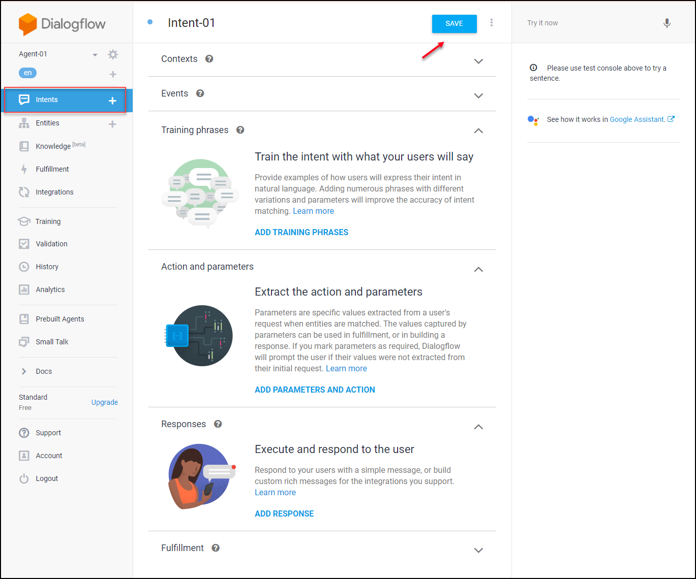 A Detailed Guide on Setting up Dialogflow | Intents