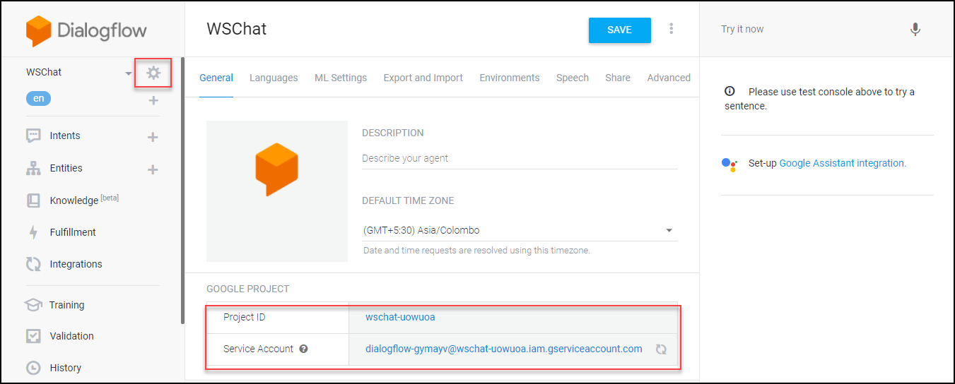 A Detailed Guide on Setting up Dialogflow | WSChat-Integration