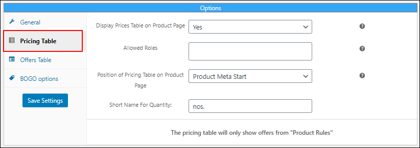 Display Pricing Table for Your WooCommerce Product Dynamic Pricing | Pricing Table Settings