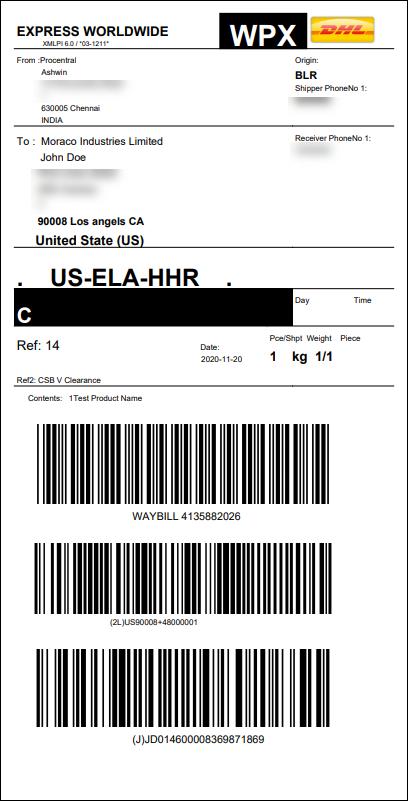 ELEX WooCommerce DHL India Add-On | DHL India label