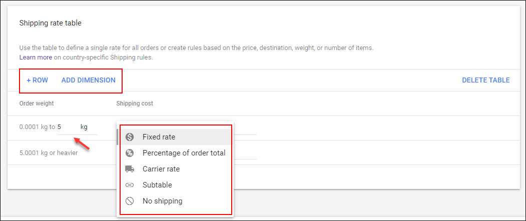 How Shipping Cost can be Set via Merchant Center? | Add dimension to create rate table