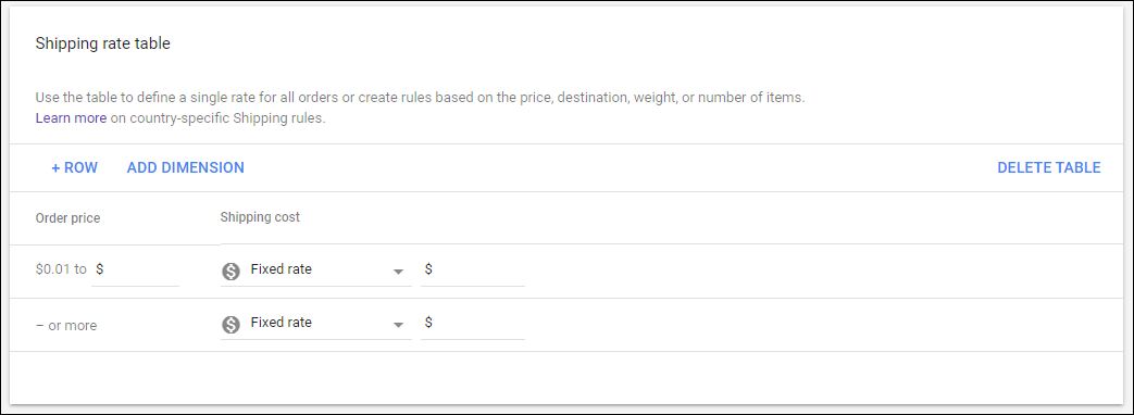 How Shipping Cost can be Set via Merchant Center? | Add rates based on dimensions