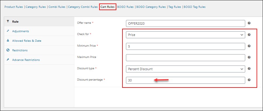 How to Create Percentage Discount for WooCommerce Products? | Cart Rules on percent discount