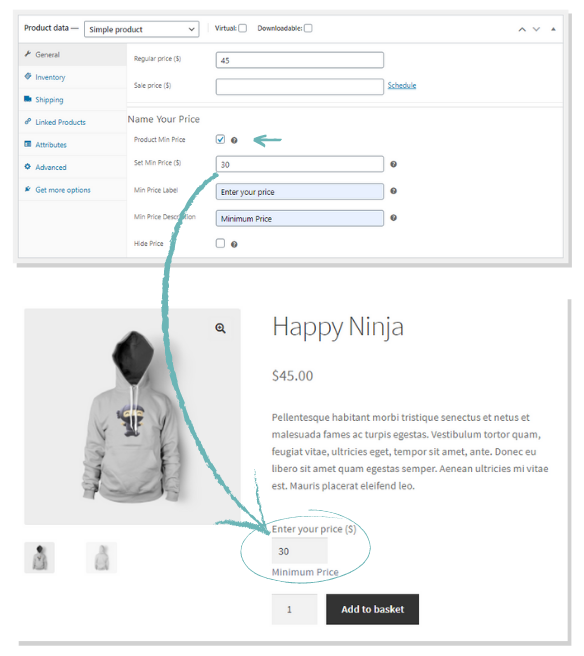 free extension for Name Your Own Price for WooCommerce products