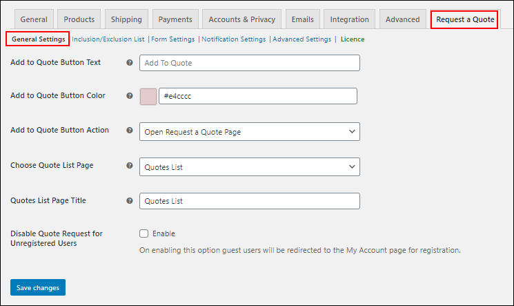 Request a Quote plugin for WooCommerce