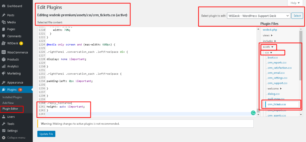 Code Snippet for Adjusting the Height of Text Description for Showing Complete Message in WSDesk Plugin