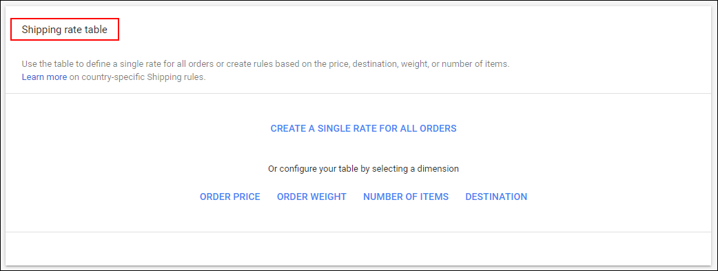 How Shipping Cost can be Set via Merchant Center? | Shipping rate table