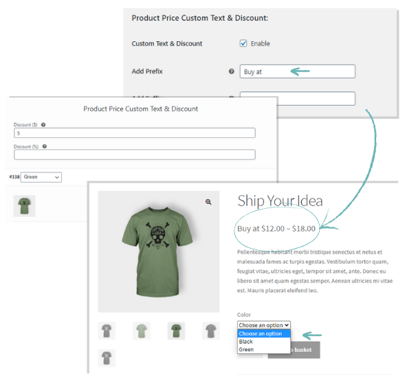 how to add a text before or after your WooCommerce product price
