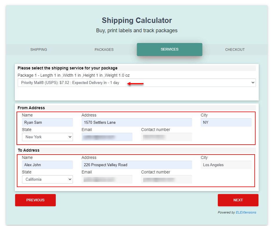 ELEX WooCommerce Shipping Calculator, Purchase Shipping Label & Tracking for Customers | choosing a shipping service and entering shipping details