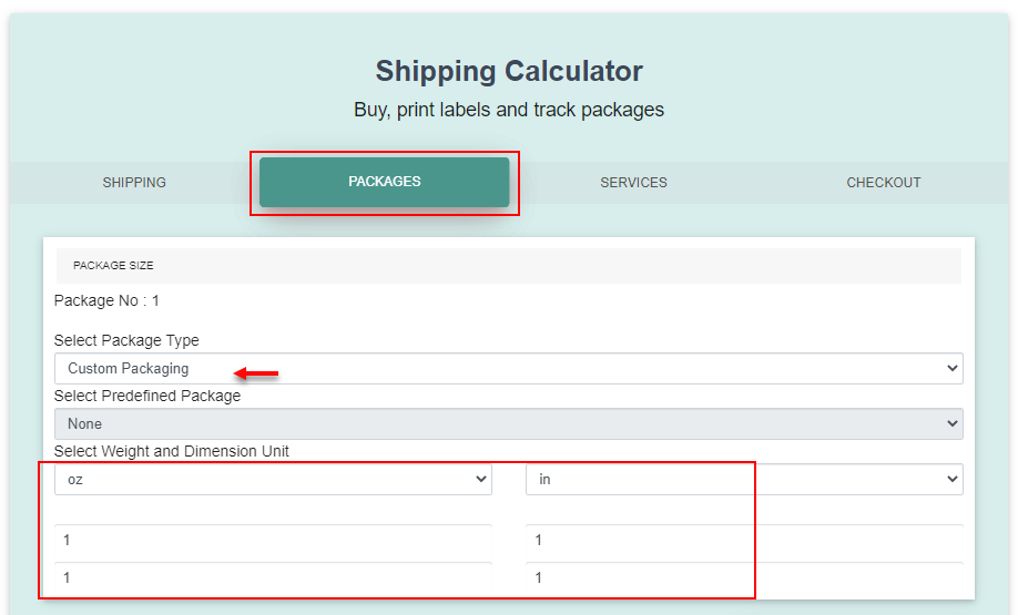 ELEX WooCommerce Shipping Calculator, Purchase Shipping Label & Tracking for Customers | entering weight and dimensions
