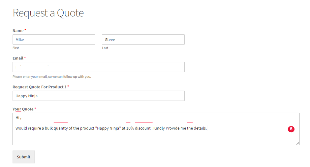 create a Request a Quote form/Enquiry form