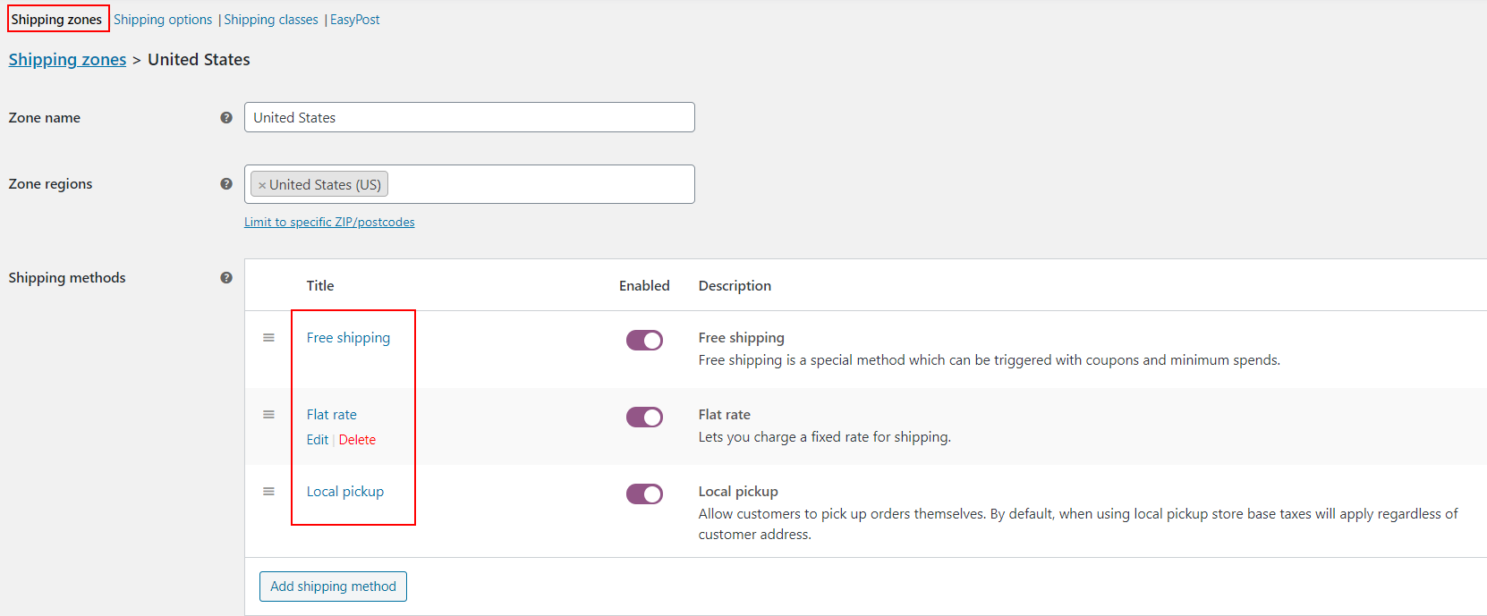 How to remove WooCommerce Shipping rates and display Elex (EasyPost, AustraliaPost, USPS, DHL, UPS) shipping live rates | Enabled default shipping types