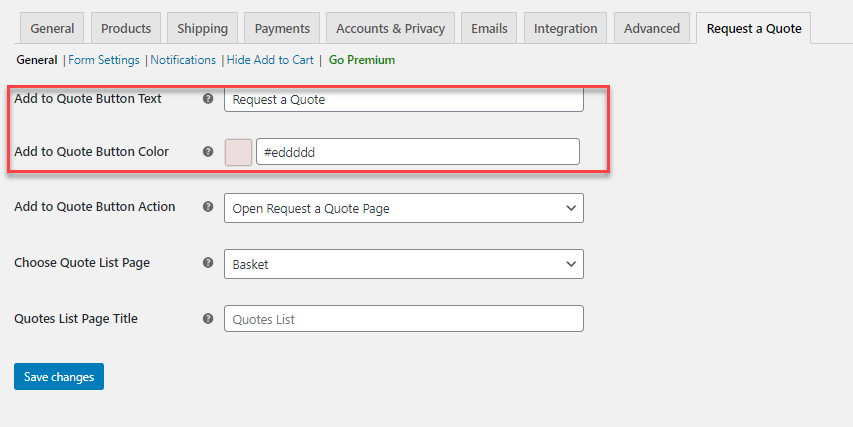 enable WooCommerce Request a Quote popup