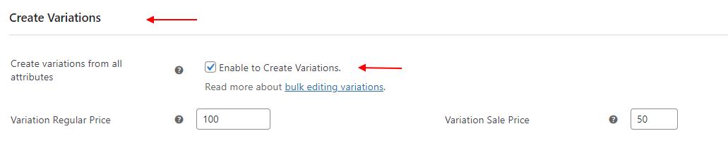 Create Bulk Variations using the ELEX WoCommerce Bulk Edit | create variations