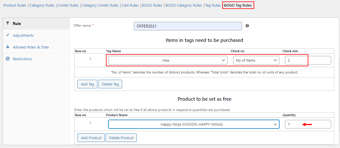 All about setting up Discount Rules for WooCommerce   Example of BOGO tag rules
