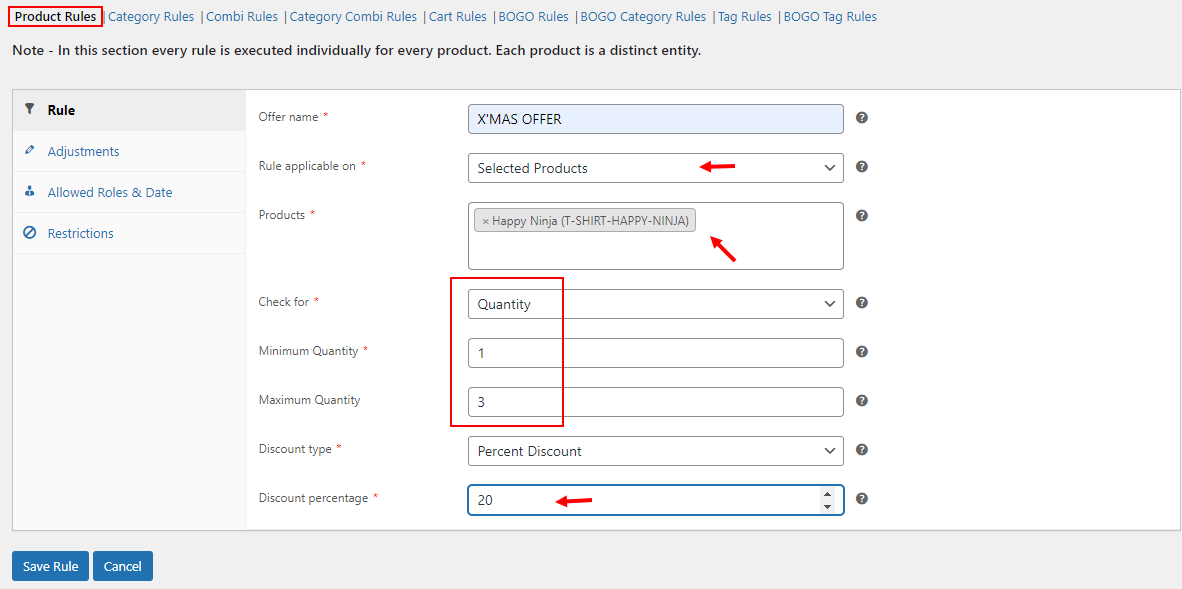All About Setting Up Discount Rules for WooCommerce   Example of a product rule