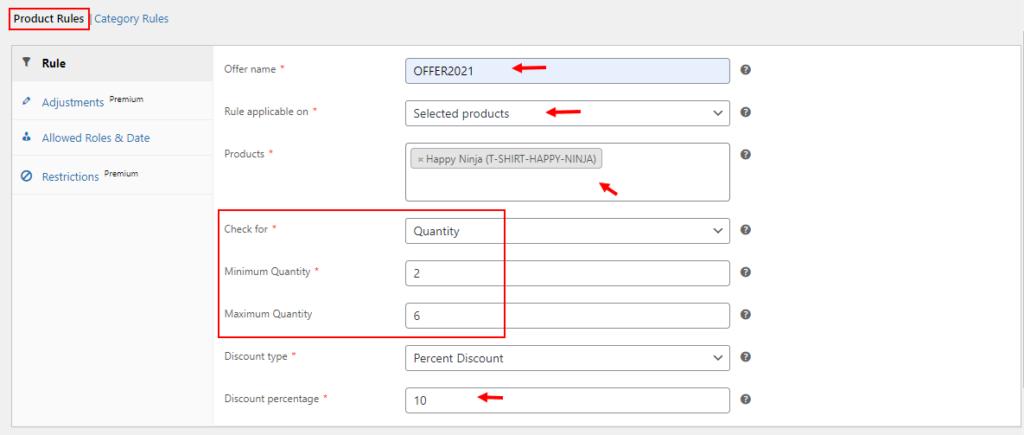 Best WooCommerce Quantity Based Pricing Plugin   Product rule-quantity based pricing example
