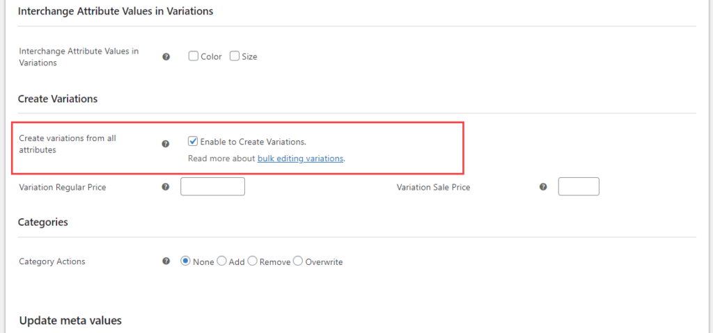 How to Create Variations in Bulk on Your WooCommerce Site? | Enable create variations