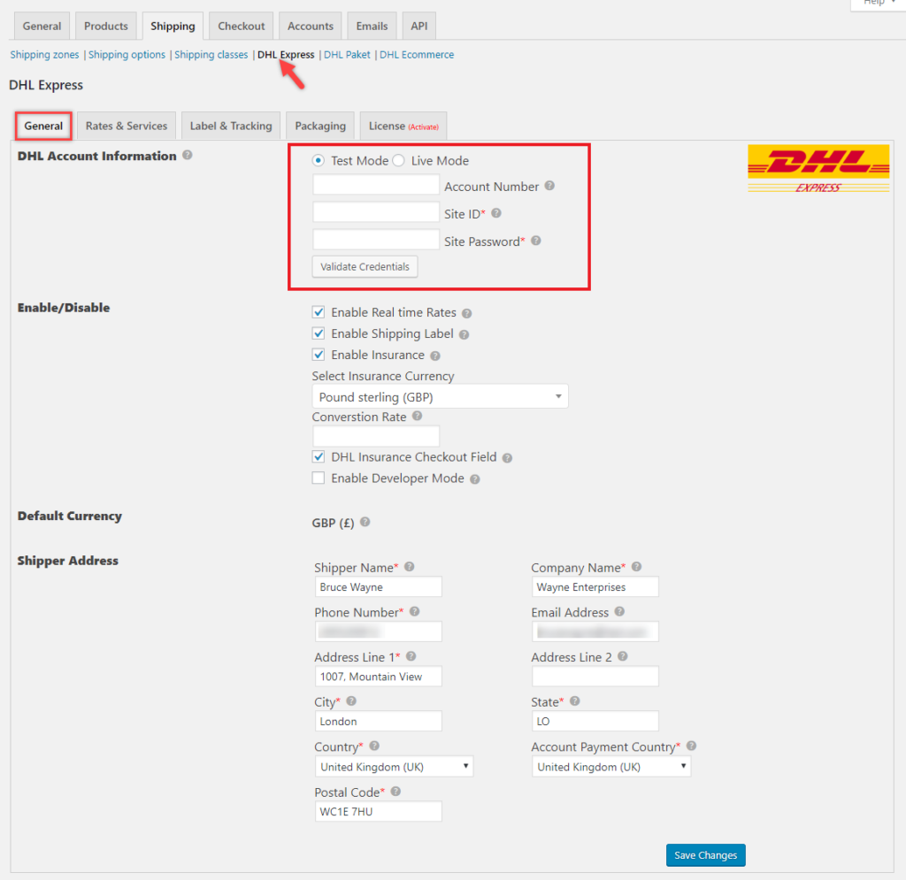 How to Create a DHL Express Account and Configure them in ELEX DHL Express Plugin? | plugin dashboard