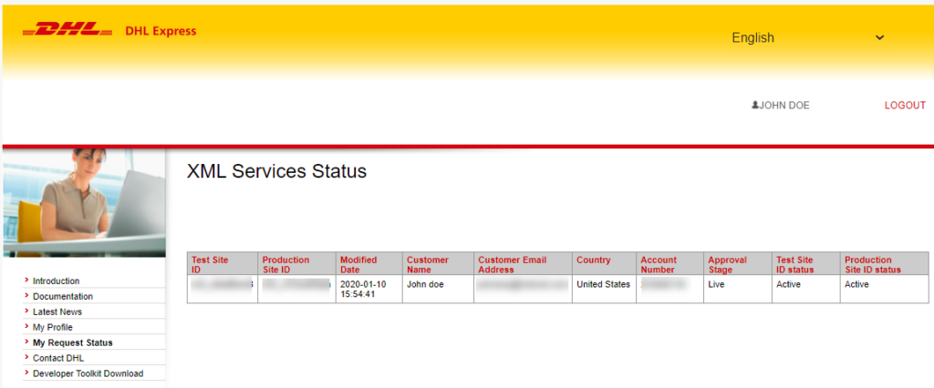 How to Create a DHL Express Account and Configure them in ELEX DHL Express Plugin?   xml service status