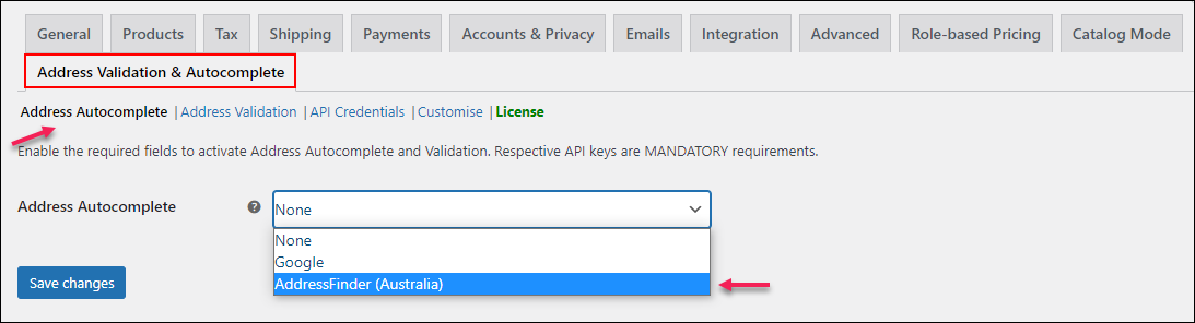 Configure Address Autocomplete Option for Australian Addresses Using AddressFinder | Choose AddressFinder