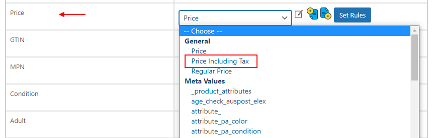Map Google Price Attribute with your Product Price Including Tax   Mapping google price with price including tax