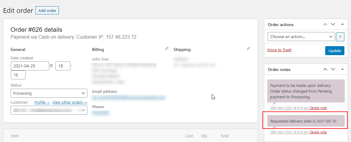 ELEX WooCommerce Choose Your Delivery Date Plugin | Request a date notification on order dashboard