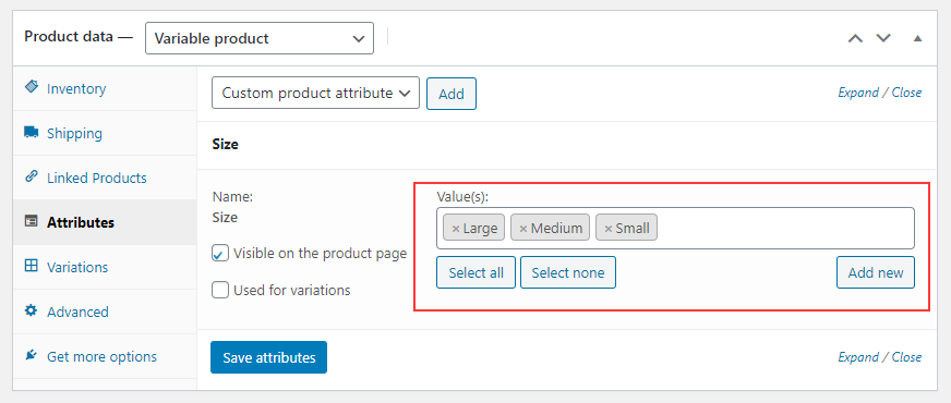 How to Change Variable Product Prices in WooCommerce?   Add-attribute-values