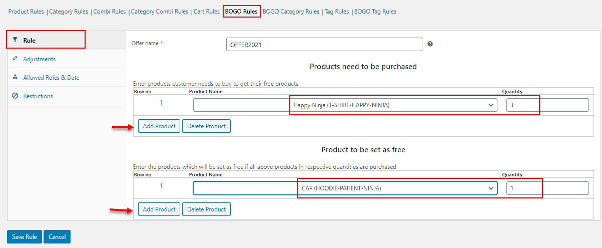 How to Change Product Price Dynamically for WooCommerce?   bogo-rules-example