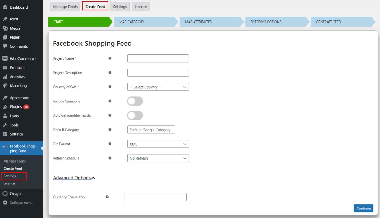 Facebook Catalog feed | WooCommerce Catalog feed | Generic settings