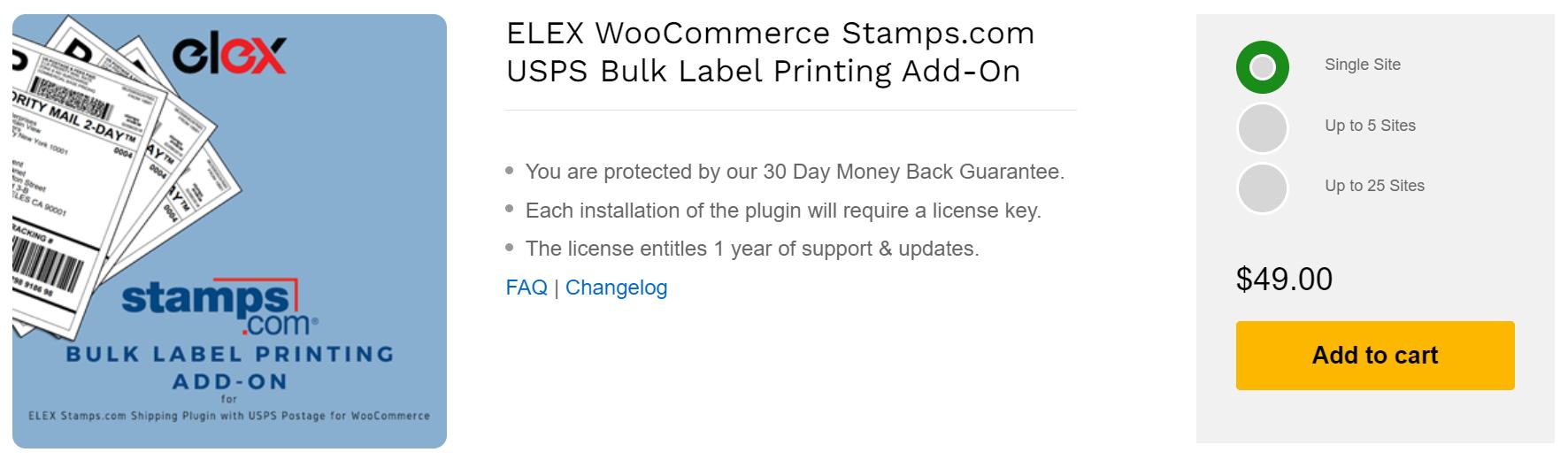 ELEX WooCommerce Stamps.com USPS Bulk Label Printing Add-On